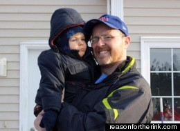 Todd Churchill with his 23-month-old son Carter who has been diagnosed from cerebral palsy and acute hearing impairment (reasonfortherink.com)