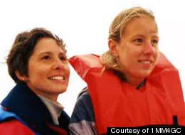 Dawn Hochsprung, left, sails with daughter Anne.