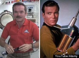 Astronaut Chris Hadfield and Captain Kirk, AKA William Shatner, chatted by phone about space travel. (YouTube/Alamy)