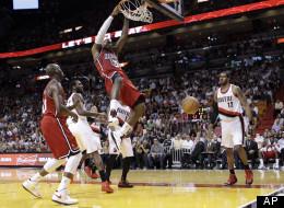 Miami Heat's LeBron James (6) against the Portland Trail Blazers during an NBA basketball game in Miami, Tuesday, Feb. 12, 2013. (AP Photo/Alan Diaz)