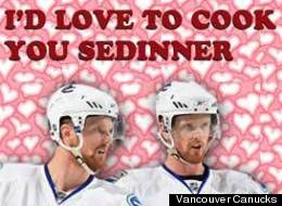 The Vancouver Canucks are wishing fans a Happy Valentine's Day with some cute-but-groanworthy cards. (Vancouver Canucks)