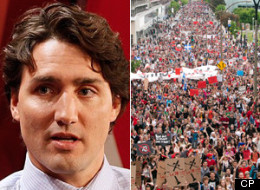 Liberal leadership favourite Justin Trudeau waded into two areas of provincial policy, at one point even taking shots at the Parti Quebecois government, while visiting Quebec today. (CP)