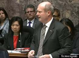 B.C. Finance Minister Mike de Jong delivers the 2013/14 budget. (Screengrab)