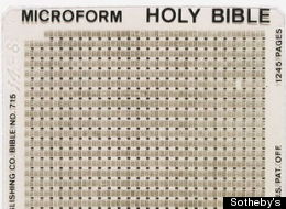 One of 300 microfilm editions of the King James Bible that flew to the moon on board NASA's Apollo 14 mission in February 1971.